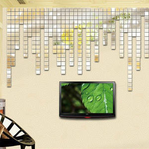 100Pcs 2*2CM Acrylic Mirror Wall Stickers Decal Square Mosaic Room Wall Sticker for Kids