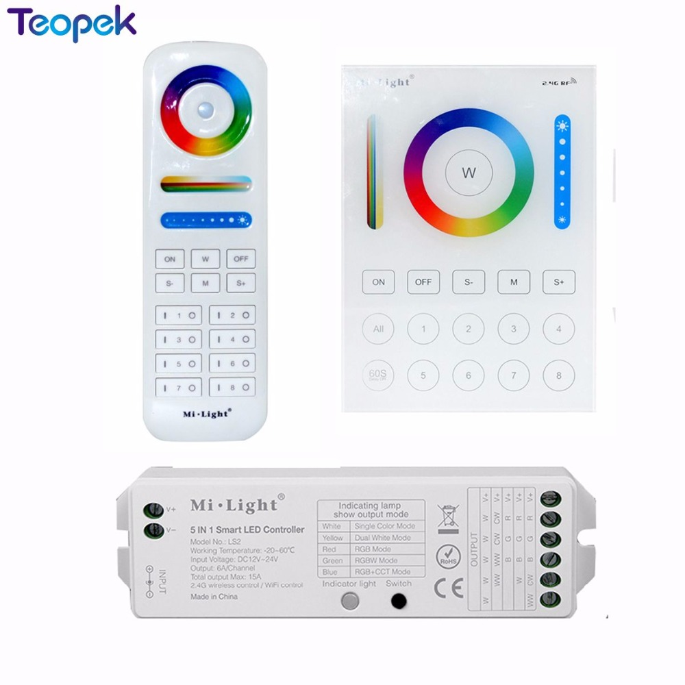 MiBoxer 2.4G Wireless 8 Zone RF Dimmer FUT089 Remote B8 Touch Panel Wall-mounted Rgbww LS2 5 In 1 Led Controller For RGB+CCT
