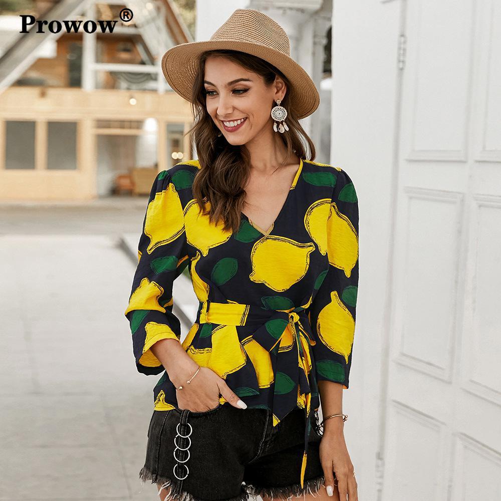 Prowow Elegant Print Blouse Women V-neck Lemon Printed Spring Shirt Ladies New Cotton Waist Tie Slim Fruit Pullover Blouses