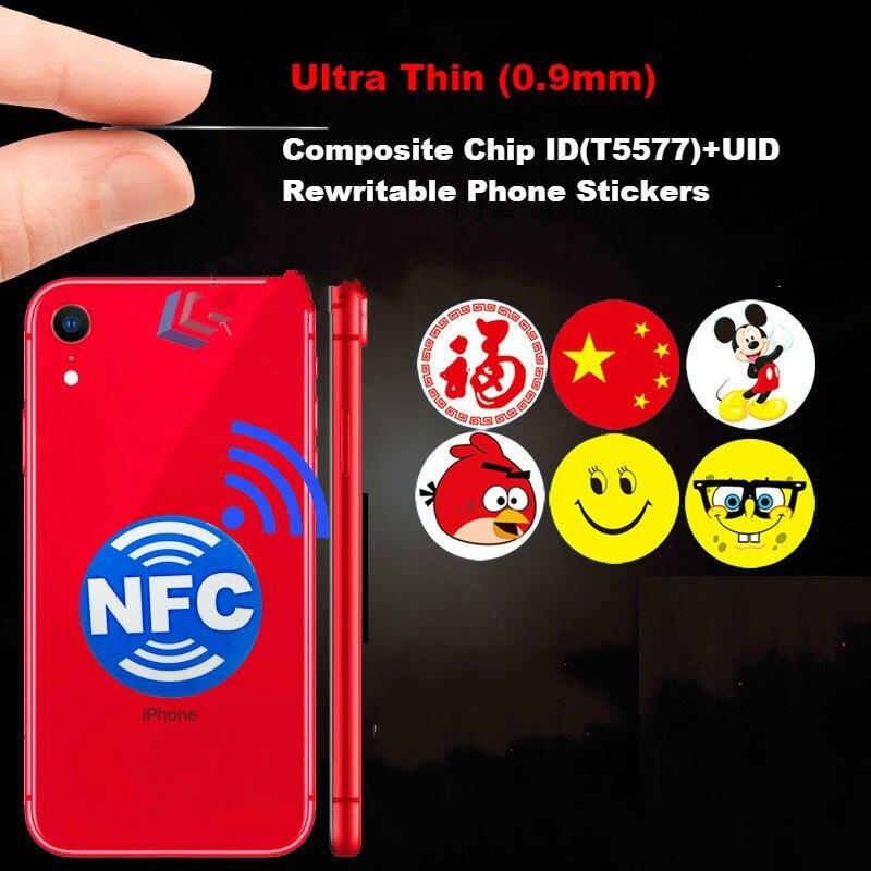 Cartões em branco telefone adesivo id + ic uid 13.56 mhz mutável reescrever gravável composto cartão duplo chip freqüência + rfid 125 khz t5577