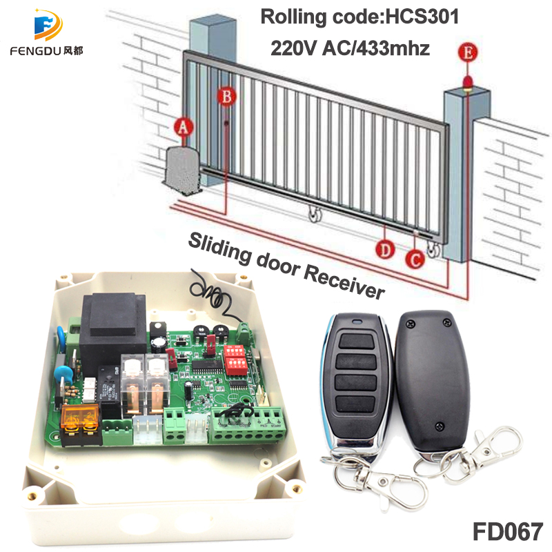 433Mhz Remote Control 220V AC Wireless Transmitter And Receiver For Sliding Door