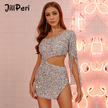 JillPeri Women One Shoulder Glitter Sequin Mini Dress Sexy Waist Cut Out Club Street Wear Celebrity Birthday Party Dress(China)