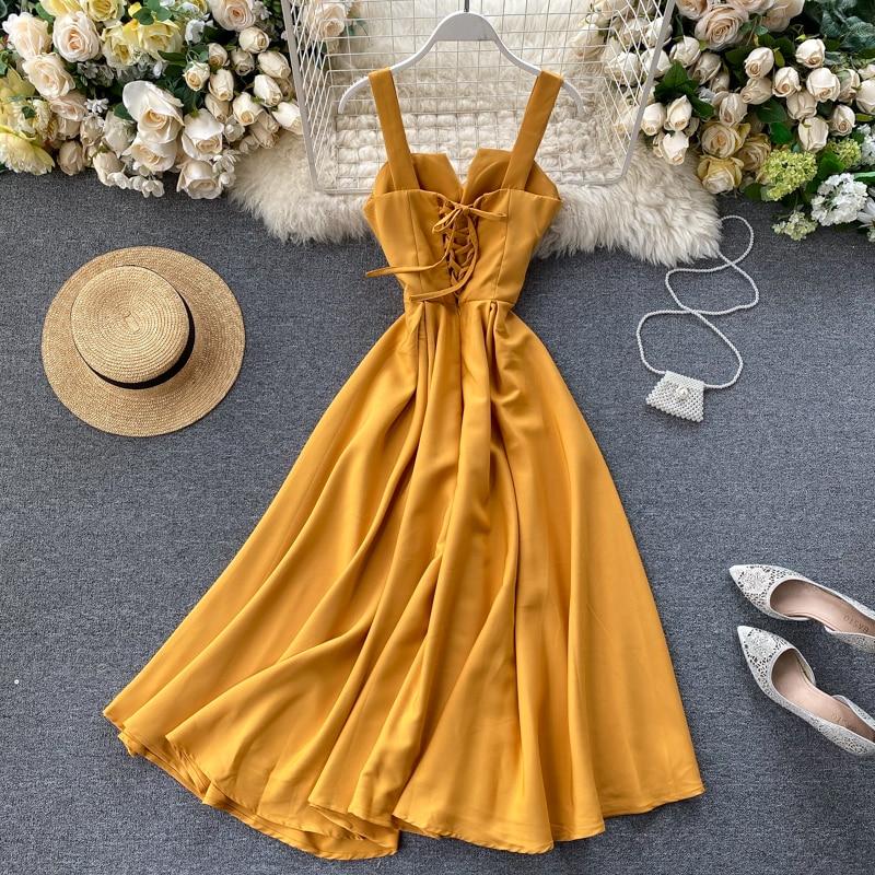 Elegant Vintage Sleeveless V-Neck Bandage Dress 8