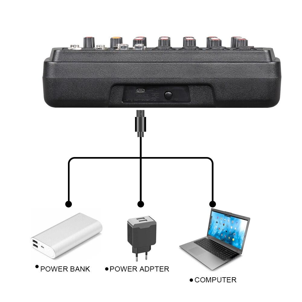 Console de mixage audio numérique portable Drembo 4/6 canaux avec carte son, bluetooth, USB, alimentation fantôme 48V pour enregistrement DJ PC - 3