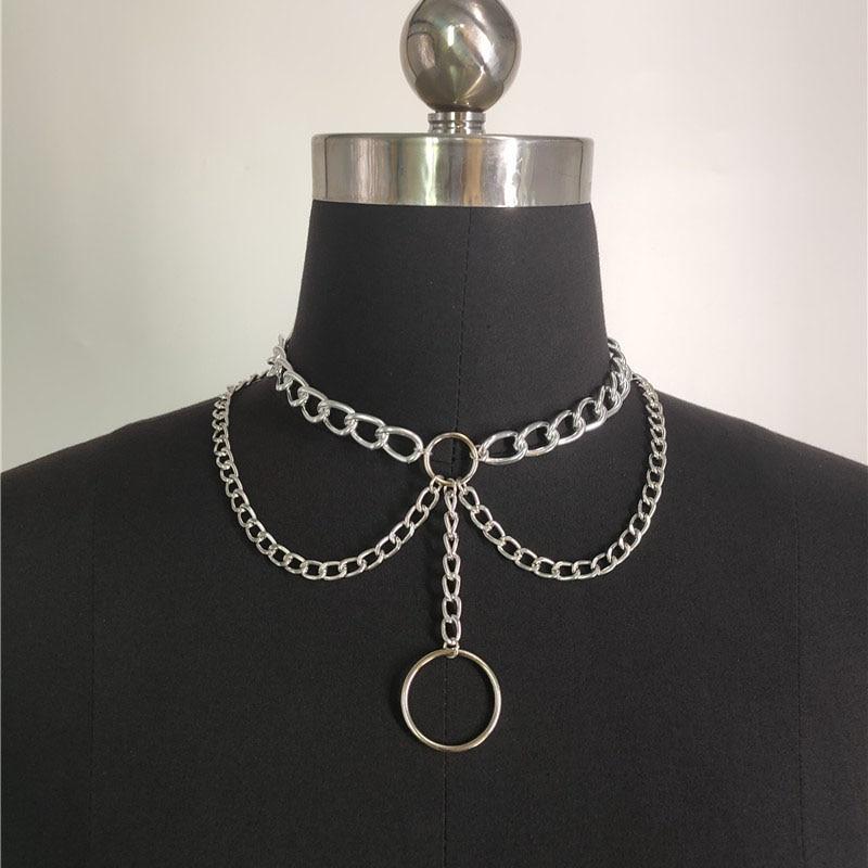 Женские двухслойные ожерелья-Чокеры в европейском и американском стиле в стиле хип-хоп с геометрическими кругами