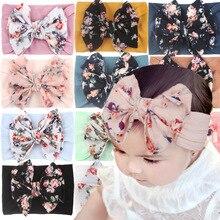 Flower Print Bowknot Elastic Turban Baby Girl Hair Accessories Kids Headband for Children Hair Bands Newborn Photography Cute
