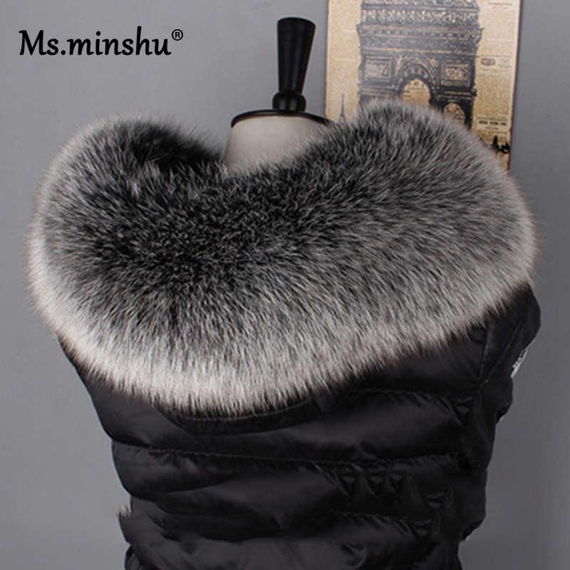 Ms. MinShu cuello de piel de zorro para capucha de piel de zorro Natural bufanda de corte de cuello de piel grande 100% piel de zorro auténtica corte de cuello hecho a medida