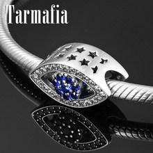 Hollow Stars 925 Sterling Silver Evil Blue CZ Eye Charm Beads fit Original Women Pandora Charm Bracelet Bangles Jewelry Making(China)