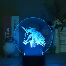 Animal 3d Lamp Led Issusion Night Lights Kids Gifts holiday Christmas Bedroom Decoration Unicorn Atmosphere Light