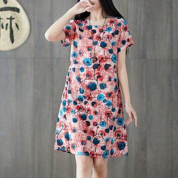 Summer Casual Loose Plus Size Dress Women Vintage Floral Print Short Sleeve Cotton Linen Vestidos Bohemian Beach Dresses