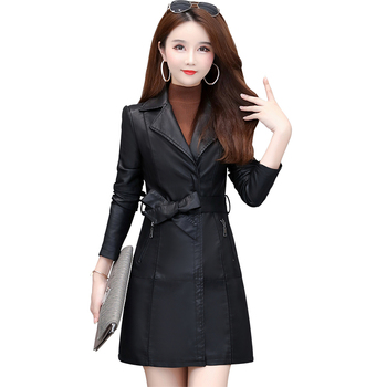 Leather Women's Long PU Leather Trench Coat Woman Spring Coats And Jackets Pvc Trench Coat Patent Leather Trench Coat HH50FY фото