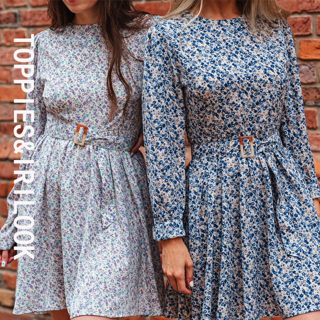 Toppies 2021 Mini Dress Print O Neck Long Sleeve Belt Sweet Crushed Floral Dress Casual Women Colorful Holiday Dress 4