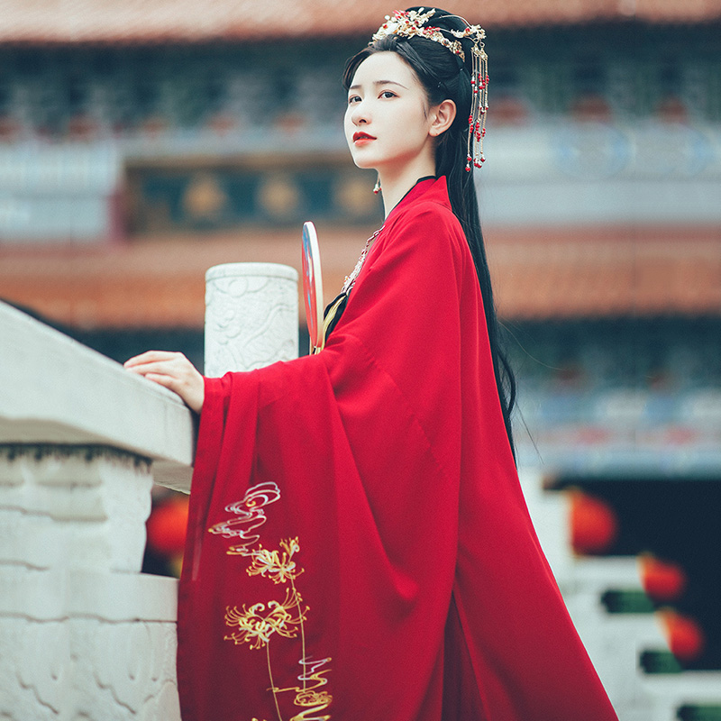 Hanfu Women Big Sleeve Shirt Flower Embroidery Festival Outfit Oriental Rave Performance Clothes Red Stage Wear 1 Pcs Top DF1075