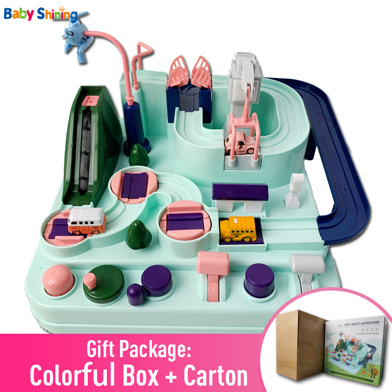 Baby Shining Education Railcar Toy Eco-friendly Baby Adventure Toy Track Car Macaron Color Table Games Boy And Girl Puzzle Toys