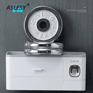 Image 5 - Suporte de escova de dentes magnética adsorção invertido dispensador creme dental montagem na parede rack armazenamento maquiagem para acessórios do banheiro conjunto