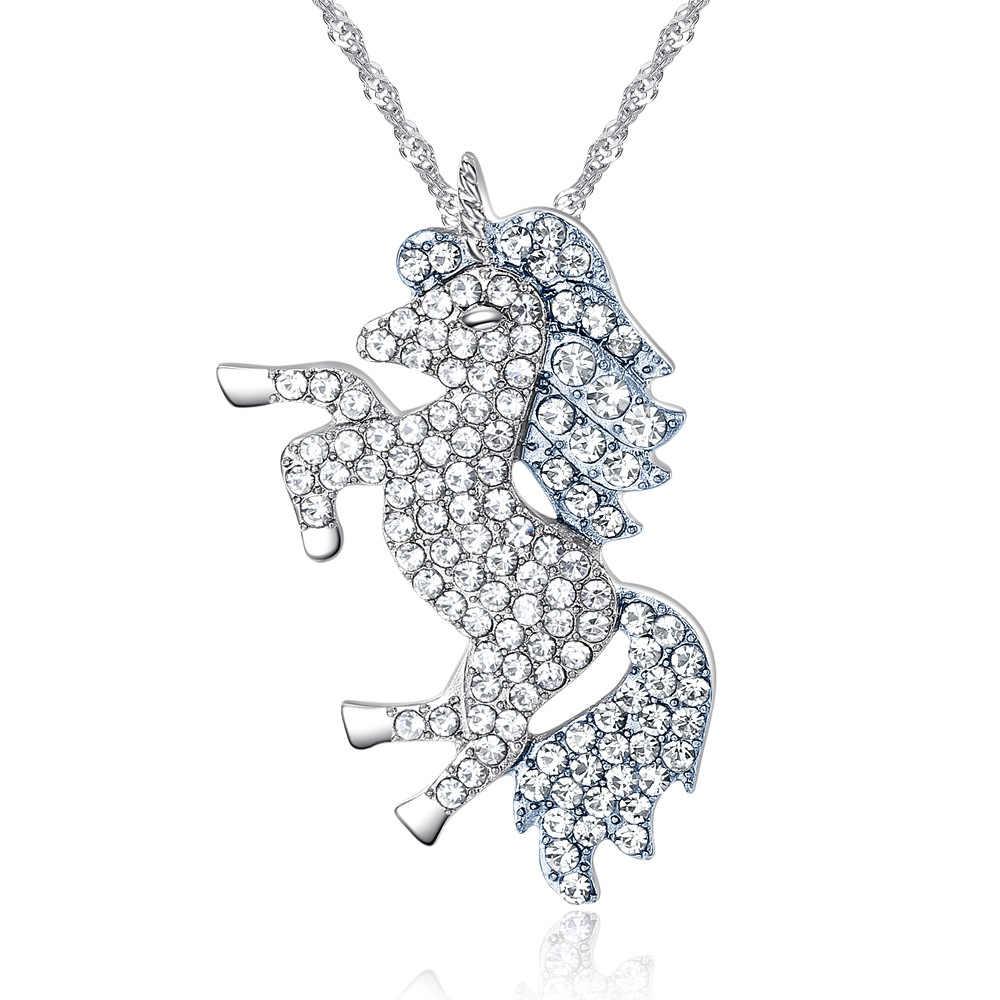 5 اللون روز الذهب مجوهرات الأزياء كريستال من Swarovskis السماء الحصان قلادة مايكرو البطانة يونيكورن قلادة عيد الأم هدية