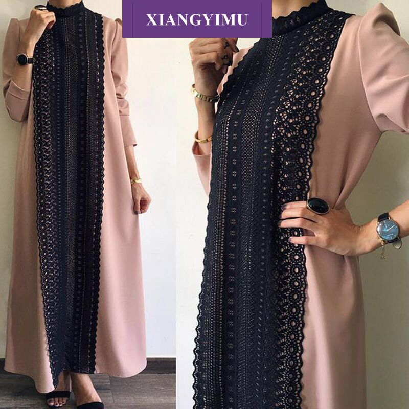 FactF8868-3 Muslim Dress Lace Abaya Dress Islamic Dress  Turkish Women Clothing Dubai Dress  Bangladesh Malaysia Caftan Marocain