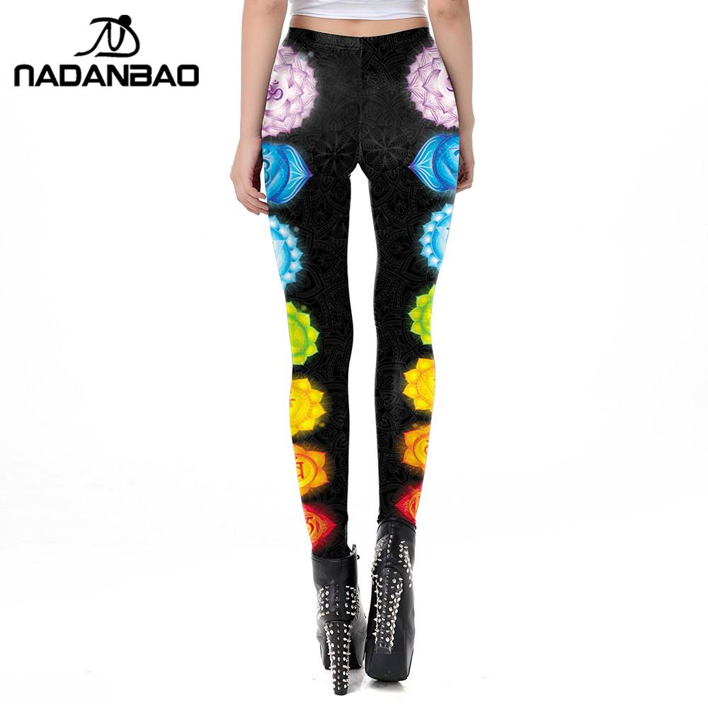 Image 2 - NADANBAO Classic Mandala Leggings Women Workout Pants Aztec Round Ombre Printing Leggins Fashion Outdoor Legins Plus Size-in Leggings from Women's Clothing