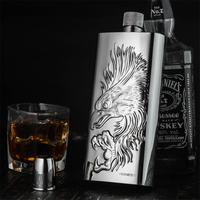 17oz Eagle high quality 304 Stainless Steel Pocket Drink Whisky Flasks Alcohol Engraved Gift Steel Portable creative Hip Flask