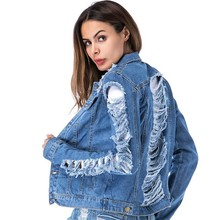 цена 2019 autumn new large size women's loose tear wind big hole denim jacket jacket female tide lapel blue M XL XXL 3XL 4XL 5XL онлайн в 2017 году