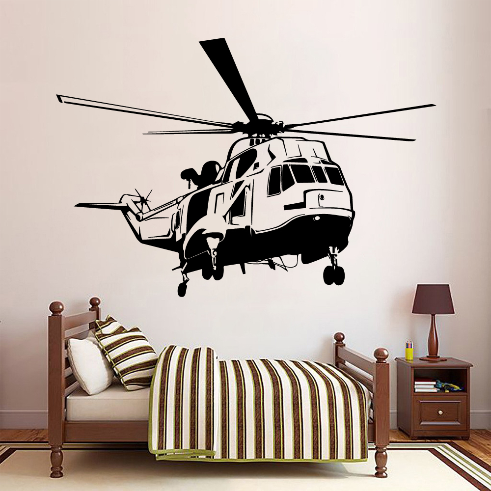 Large Helicopter Wall <font><b>Stickers</b></font> Vinyl Decal For Baby Room <font><b>sticker</b></font> Helicopter Wallsticker Nature Decor Bedroom Decal <font><b>muraux</b></font> image