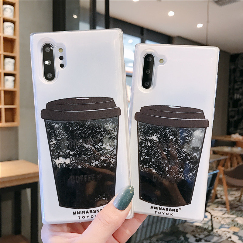 Coffee Cup Liquid Quicksand <font><b>Silicone</b></font> Cover For <font><b>samsung</b></font> galaxy Note 10 S8 S9 S10 plus J3 <font><b>J5</b></font> J7 2016 A3 A5 A7 2017 A6 A8 2018 <font><b>case</b></font> image