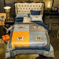 4/6pcs queen king size bedding sets super soft Crystal velvet bed set bed sheet set,bed set horse bed linen pillowcases