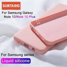 Flüssigkeit Silikon Fall Für Samsung Galaxy A50 A70 S10 Note10 Plus Weiche Zurück Matte Fall Für Samsung Note10 8 9 s8 S9 S10 Plus Abdeckung