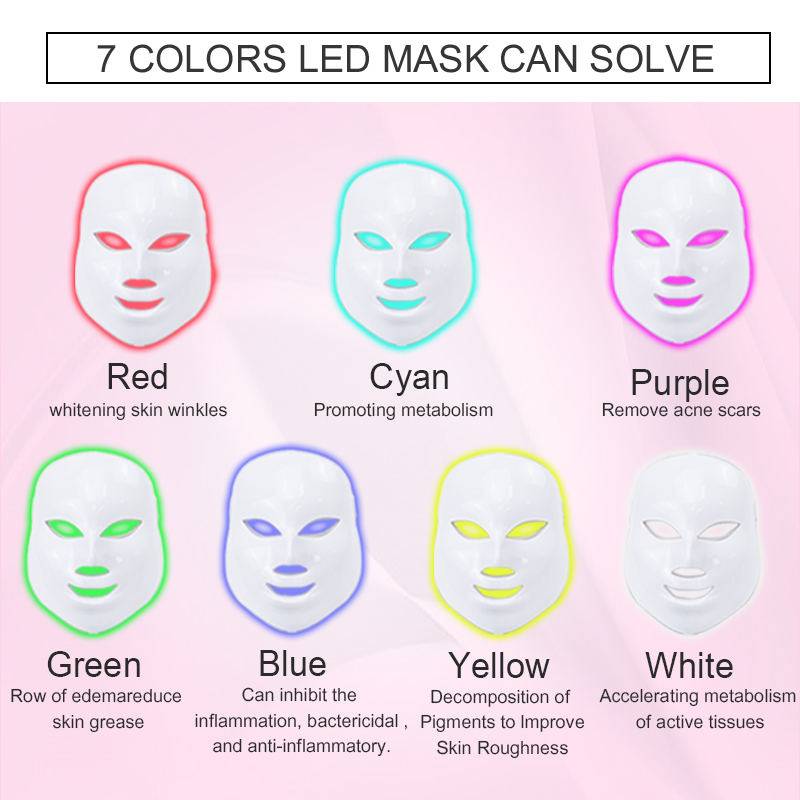 Image 4 - Licheng Led Facial Mask 7 Colors  Led Korean Photon Therapy Face Mask Machine Light Therapy Wrinkle Acne Skin Care Led Mask-in Face Skin Care Tools from Beauty & Health
