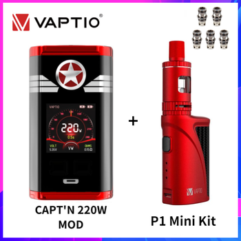 Original Vaptio CAPT'N 220W Box Mod With P1 MINI VAPE Kit Gift Vaporizer Fit 510 Tank Vape 18650 E Cig Mod PT1 Coil Head Core vaptio capt n mod 220w 510 box mod with gift fusion e vape kit dual 18650 battery box mod electronic cigarette fusion core head