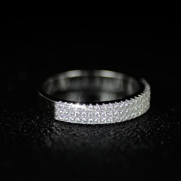 Hollywood Triple Promise ring 925 Sterling silver Pave AAAA cz Wedding Band Rings for women Bridal Statement Party Jewelry 5