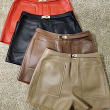 Winter Shorts Fashion Women Streetwear Mini Female Autumn High-Waist Korean Solid Sheepskin