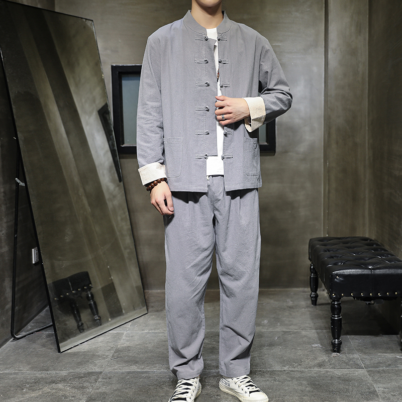 Men Clothes 2020 Mens Track Suit Set Sweatsuit Clothing For Men Chinese Style Cotton Linen Jacket +Pants Suit Sets Plus XXXXXL