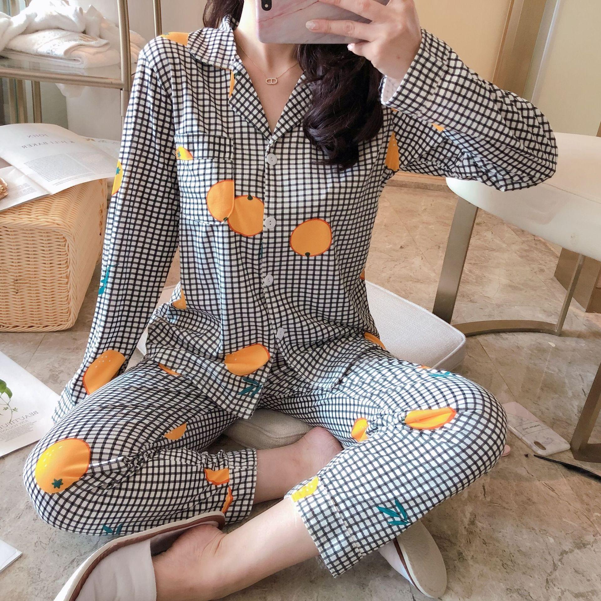 Elegant Fashionable Thick Warm 100% Cotton Women Pajamas Set Winter Loose Cartoon Print Sleepwear for Women Long Woman Pant+ Top 31