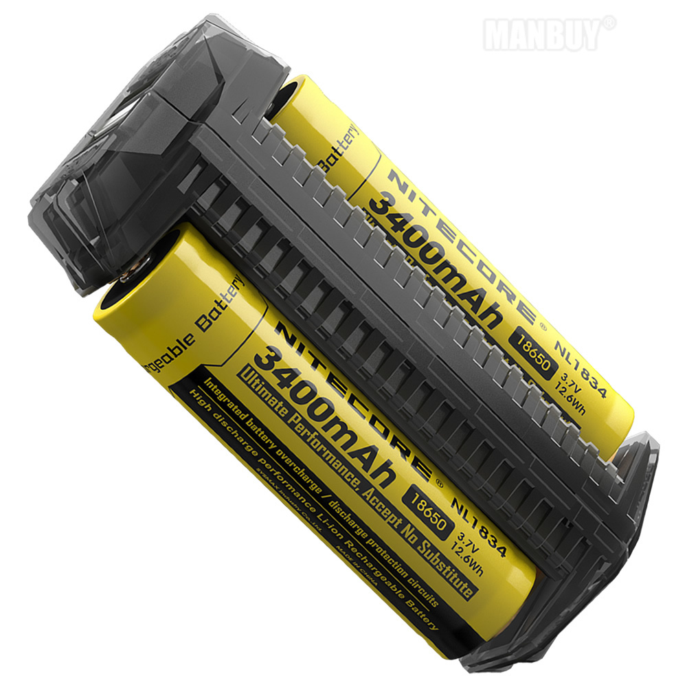 2020 NITECORE F2 USB Charger + 2x 18650 Batteries Flexible Power Bank 2A Smart 2 Slot Power Source Portable Lighting Accessories