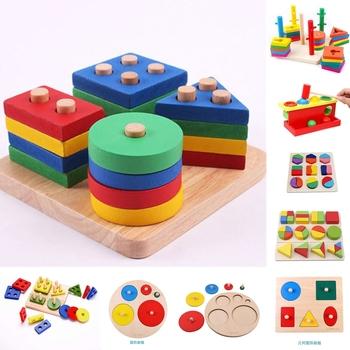 Kolorowe geometryczne kształty pasujące zabawki dla dzieci wczesne uczenie się ćwiczenia praktyczne umiejętności Montessori edukacyjne drewniane zabawki tanie i dobre opinie LAIMALA Drewna CN (pochodzenie) 881855 2-4 lat Unisex Montessori Toys Montessori materials Early Learning Educational For children education