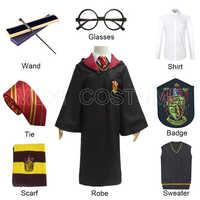 Robe Cloak with Tie Scarf Glasses Shirt Badge Sweater Metal Core Wand Gryffindor Cosplay Harris Costume