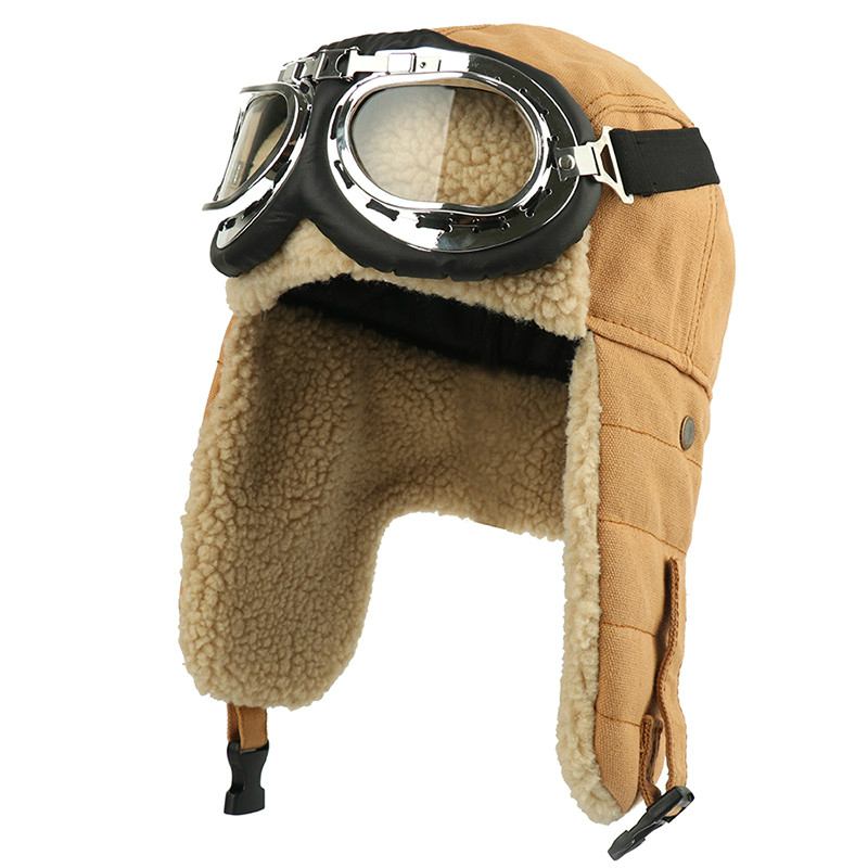 Winter Bomber Hats Earflap Russian Fur Hat Goggles Men Women's Trapper Pilot Hat Faux Berber Fleece Russian Thermal Snow Caps
