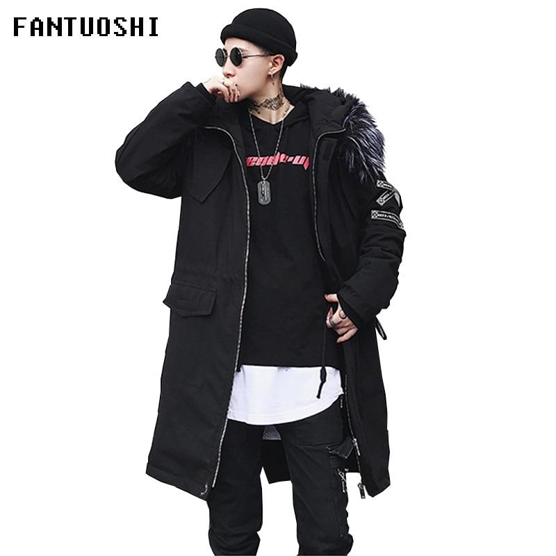 Парка мужская зимняя длинная, толстая хлопковая, Повседневная модная теплая, брендовая одежда, 2019