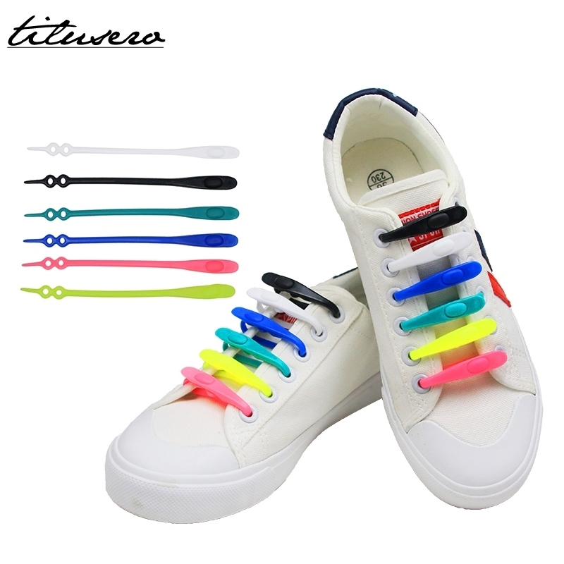 2019 New Shoelaces 14pcs/pack Elastic Silicone No Tie Shoelaces Elastic Shoe Laces Lock Lace For Adults/Kids F048