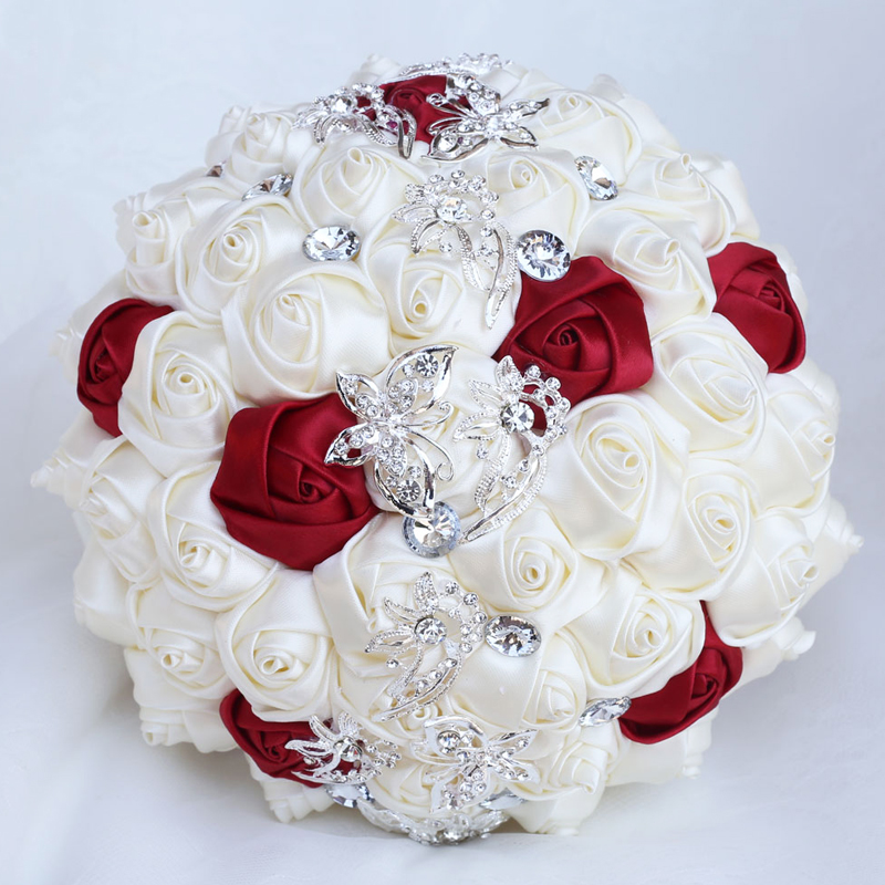 Rose Bridal Wedding Bouquets Butterfly Crystal Brooch Bride Bouquet Bridesmaid Diamond Bouquet Marriage Accessories W2216-Z