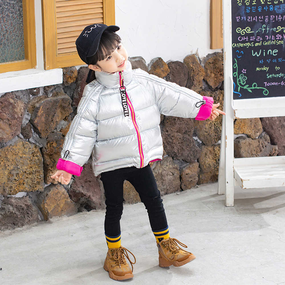 CYSINCOS Boys Coat Winter Jacket Kids Down Cotton Coat Waterproof Snowsuit Gold Silver Jacket Hooded Warm Parka Girls Down Coats