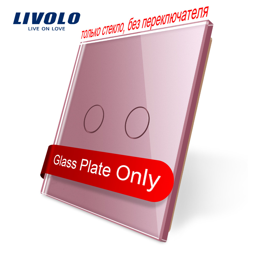Livolo Luxury Colorful Crystal Glass,EU Standard,only Panel,Single Glass Panel For 2Gang  Wall Touch Switch,C7-C2-17/8/9,no Logo