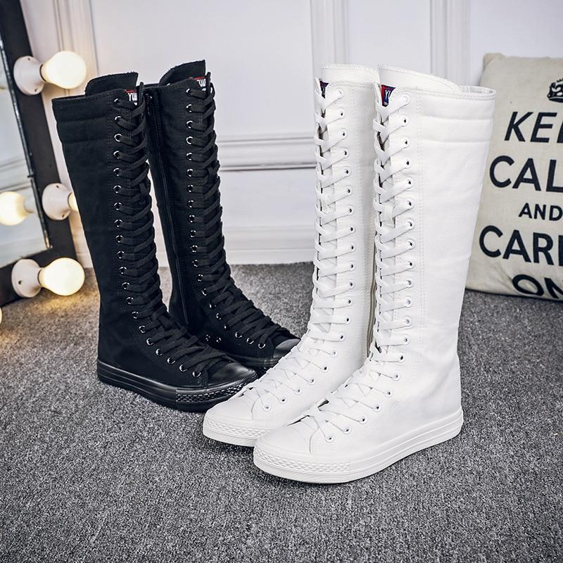 Botas femininas modernas de cano alto, botas de renda e zíper, longas, casuais, de lona, primavera/outono, 2019 botas de tamanho grande 34-43 QA-32