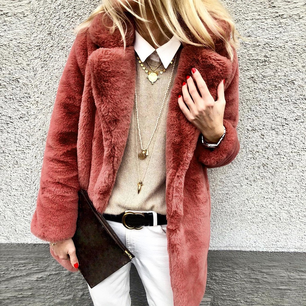 H334801d8313e43caaadf30018917a1b8I New Winter Womens Faux Fur Long Outwear Coat Warm Fleece Thick Jacket Ladies Long Plus Size Cardigan Overcoat