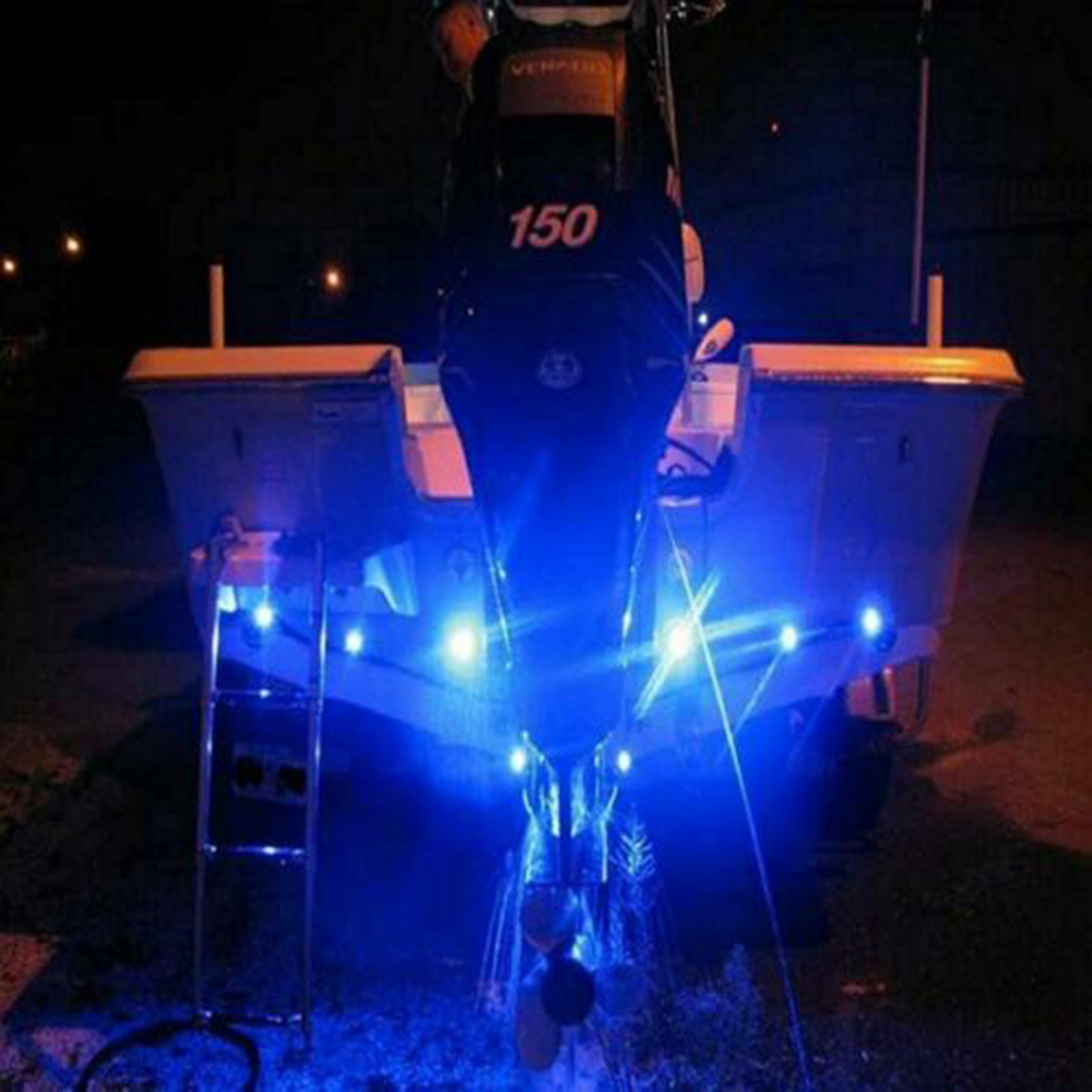 LED Boat Lights 4x Blue Waterproof Outrigger Spreader Transom Under Water Troll Bulb