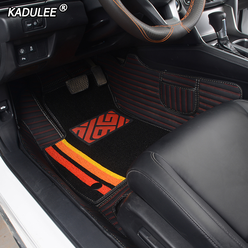 KADULEE Custom Car Floor Mats for hyundai santa fe tucson getz ix25 ix35 creta elantra kona i30 foot mats auto accessories style title=