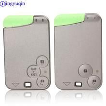 Jingyuqin capa protetora para chaves, controle remoto, 2 botões, capa escudo para chave, para renault laguna space, cartão inteligente com lâmina
