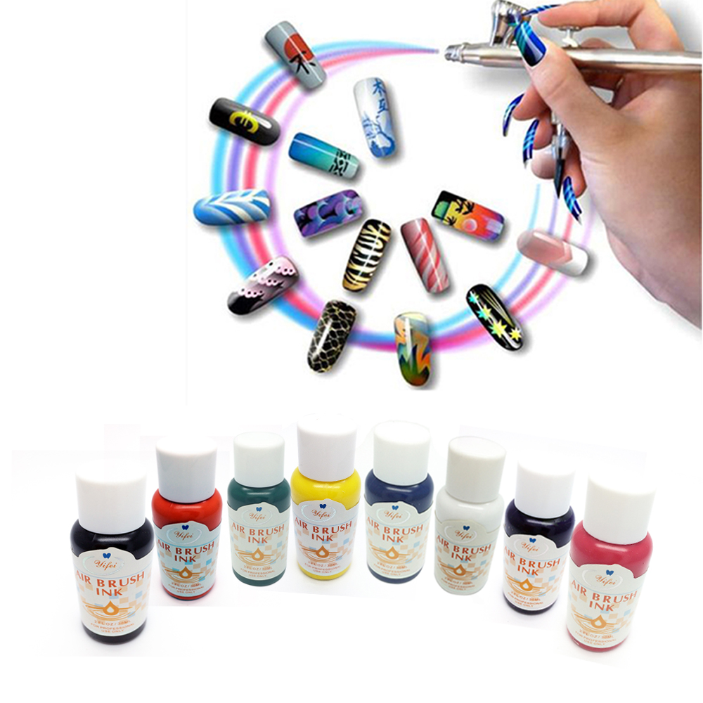 8 Colors Ink For Airbrush Nail Art Basic Color Pigment Sets Air Brush Accessories Pigments For Nail Stencils Painting.