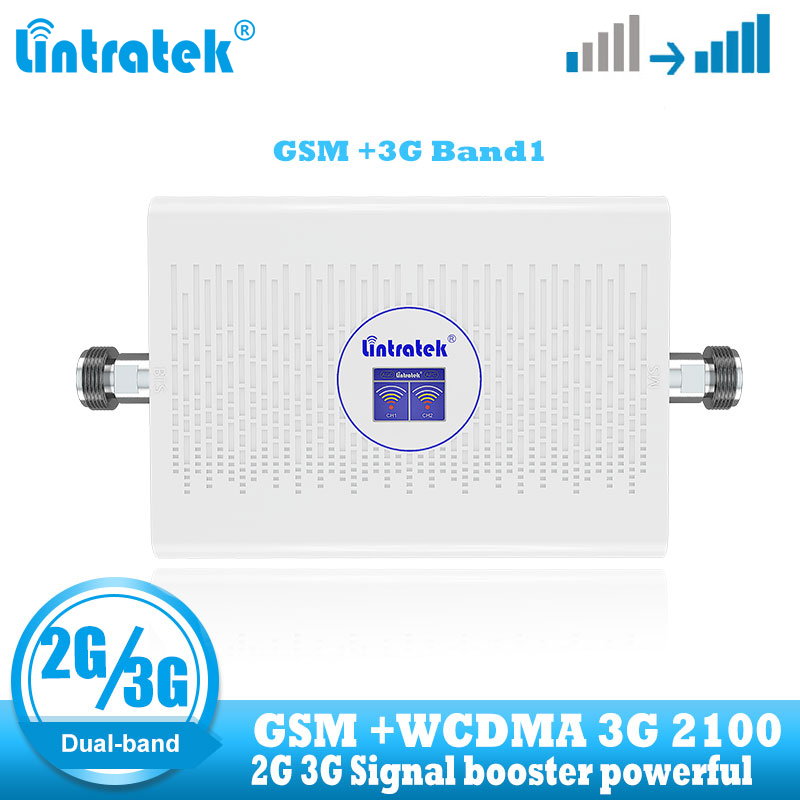 Lintratek Gsm Repeater 2g 3g Cellular Amplifier GSM 900 WCDMA 2100 Cellphone Signal Booster Amplifier 2g 3g Dual Band Repeater